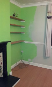 They'd started painting in the grey - but stopped when they hit a wall that was too wet for the paint to stick to.